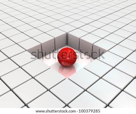 Red sphere and cubes network - this is a 3d render illustration - stock photo