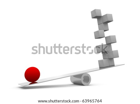 Red sphere and gray blocks on a balance - stock photo