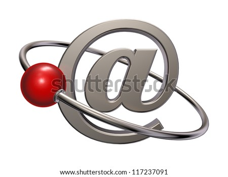 red sphere fly around email symbol - 3d illustration