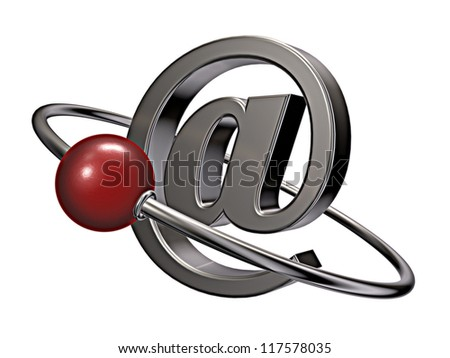 red sphere fly around emailsymbol - 3d illustration