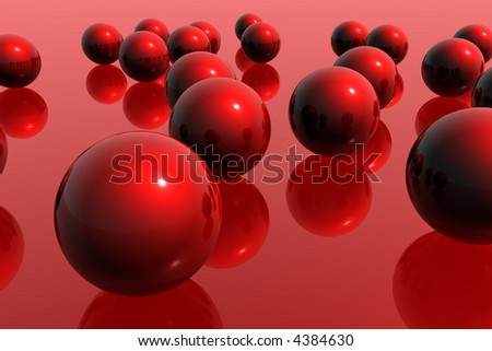 Red spheres on red background - stock photo