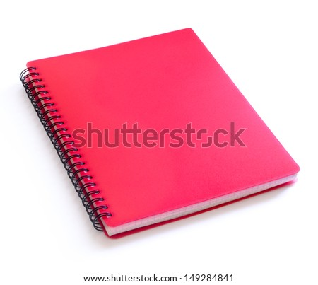 Red Spiral Notebook Isolated on the White Background. Clear Cover