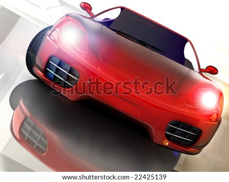 red sport and fast car over mirror; three dimensional shape - stock photo
