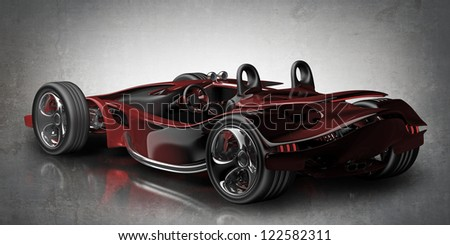 red sport car Concept (No trademark. it is design and the 3d model completely exclusive it is developed and made personally me) High resolution 3d render - stock photo