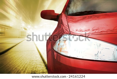 Red Sport Car - Front side - on the road. - stock photo