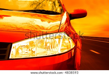 Red Sport Car on a HighWay. Great details ! - stock photo