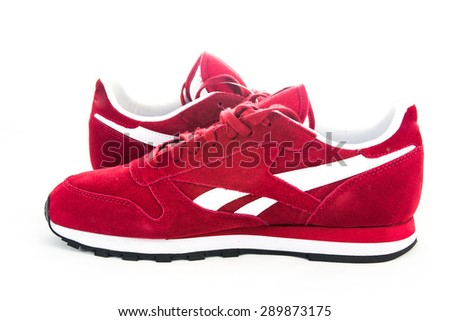 red sport shoes - stock photo
