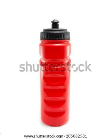 Red sport water bottle on white background - stock photo