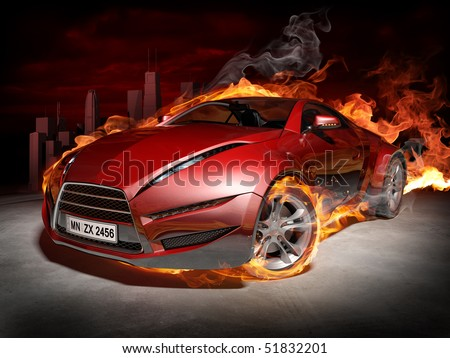 Red sports car.  Burnout. My own car design. - stock photo