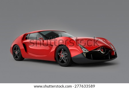 Red sports car isolated on gray background. Original design. 3D rendering image with clipping path.