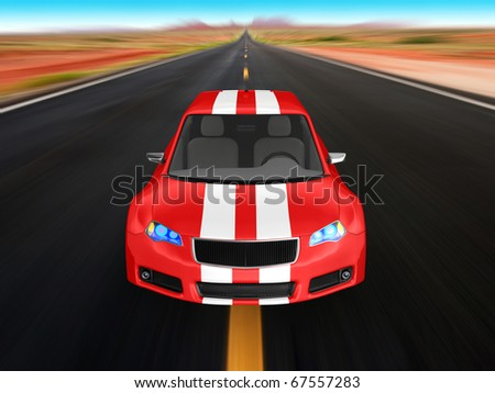 Red sports car isolated on white. No trademark issues as the car is my own design. This is a detailed 3D render. - stock photo