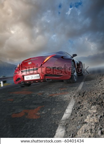 Red sports car moving on the mountain road. Original car design. Logo on the car is fictitious. - stock photo