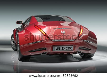 Red sports car.  My own car design. - stock photo