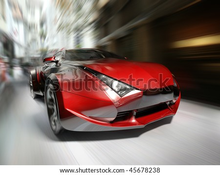 Red sports car.  My own car design. Not associated with any brand. - stock photo