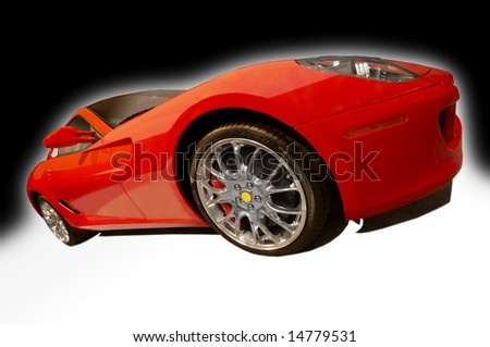 red sports car on a black and white background