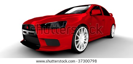 Red Sports Rally Car - Isolated on white - stock photo