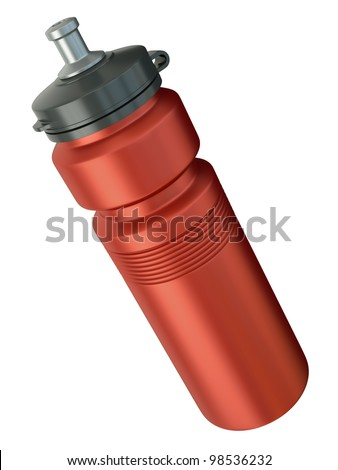 Red sports water bottle. 3D render.