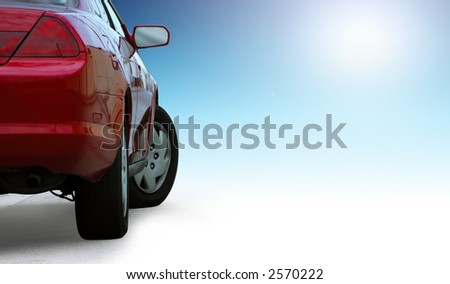 Red sporty car detail  isolated on clean background. - stock photo