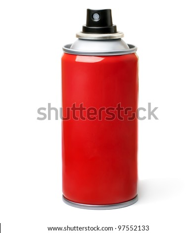 Red spray bottle,  isolated on white background. - stock photo