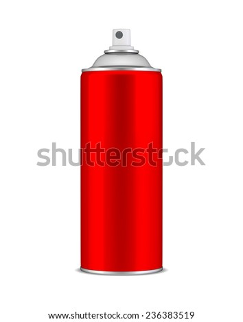 Red spray can - stock photo