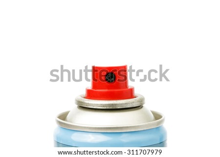 Red spray head of blue spray can  on white background. - stock photo