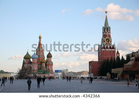 Red Square and St. Basil's cathedral in Moscow - stock photo