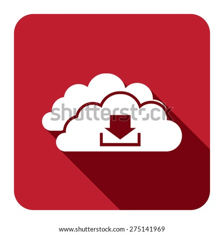Red Square Cloud Computing With Download Flat Long Shadow Style Icon, Label, Sticker, Sign or Banner Isolated on White Background - stock photo