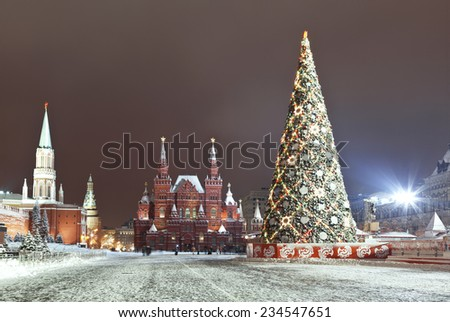Red square during new year celebrations at night - stock photo