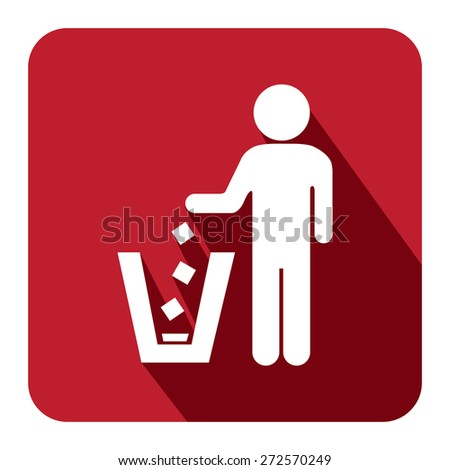 Red Square Dustbin, Litter Bin or Trash Can Long Shadow Style Icon, Label, Sticker, Sign or Banner Isolated on White Background - stock photo
