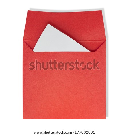 Red square envelopes. A white paper inside on a white background with clipping path. - stock photo