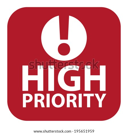 Red Square High Priority Icon, Sign, Sticker or Label Isolated on White Background  - stock photo