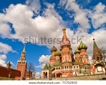 red square (kremlin  and basil the blessed church), Moscow, Russia, more Moscow http://bit.ly/pbsWdE - stock photo