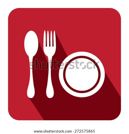 Red Square Restaurant, Bistro, Cafeteria or Food Center Long Shadow Style Icon, Label, Sticker, Sign or Banner Isolated on White Background - stock photo