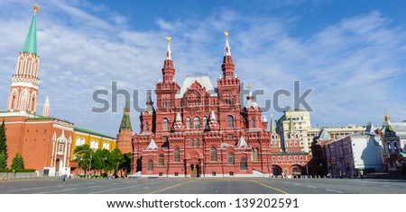 Red Square, State Historical Museum, St. Nicholas Tower. Moscow, Russian Federation - stock photo