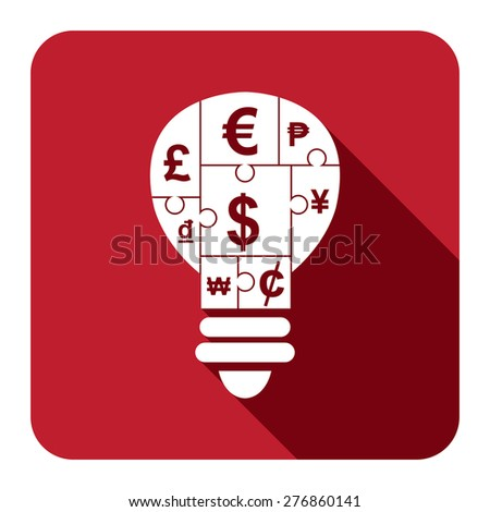 Red Square Various Currency Sign Puzzle in Light Bulb Flat Long Shadow Style Icon, Label, Sticker, Sign or Banner Isolated on White Background - stock photo