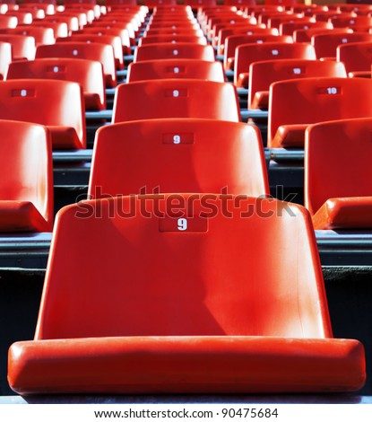 Red stadium seats - stock photo