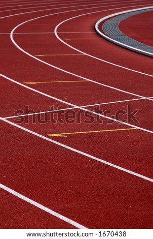 Red stadium track - stock photo