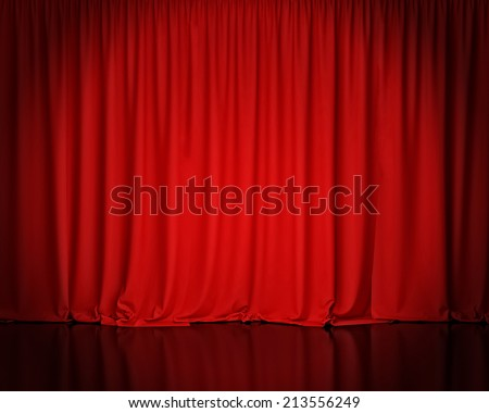 red stage curtain, background - stock photo