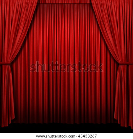 Red stage curtain in square format - Stitched from two photographs - stock photo