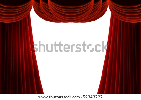 red stage curtain on white for your own text or objects