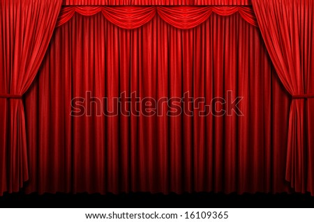 Red stage curtain with arch entrance - stock photo