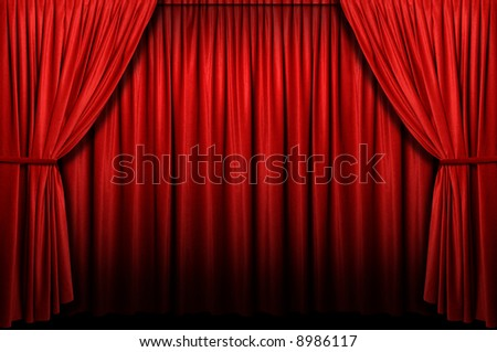 Red stage curtain with light and shadow - stock photo
