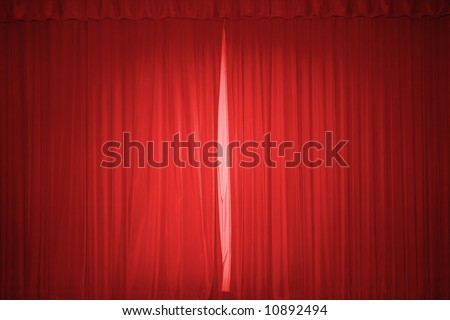 Red stage curtain with lights - stock photo