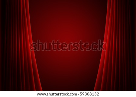 red stage curtain with spotlight - stock photo