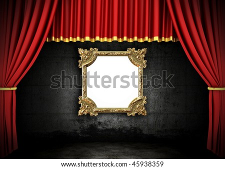 Red Stage Theater Drapes and Golden frame in a dark room - stock photo