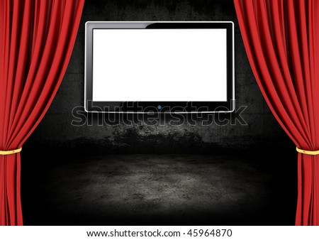 Red Stage Theater Drapes and LCD screen  in a dark room