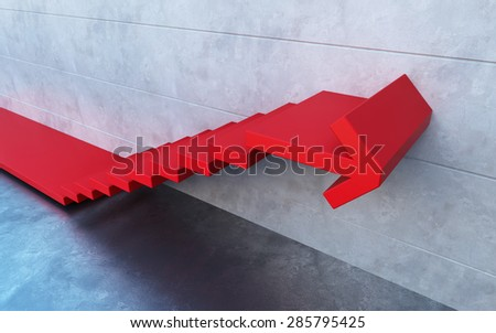 red stairs going  upward - stock photo