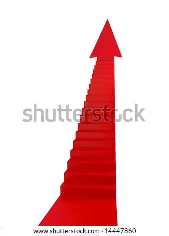 Red Stairs of Success - stock photo