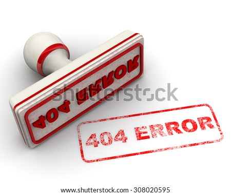 """Red stamp and imprint """"404 ERROR"""" on white surface - stock photo"""