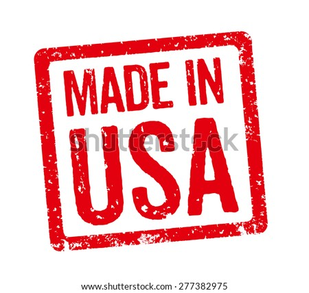 Red Stamp - Made in USA - stock photo